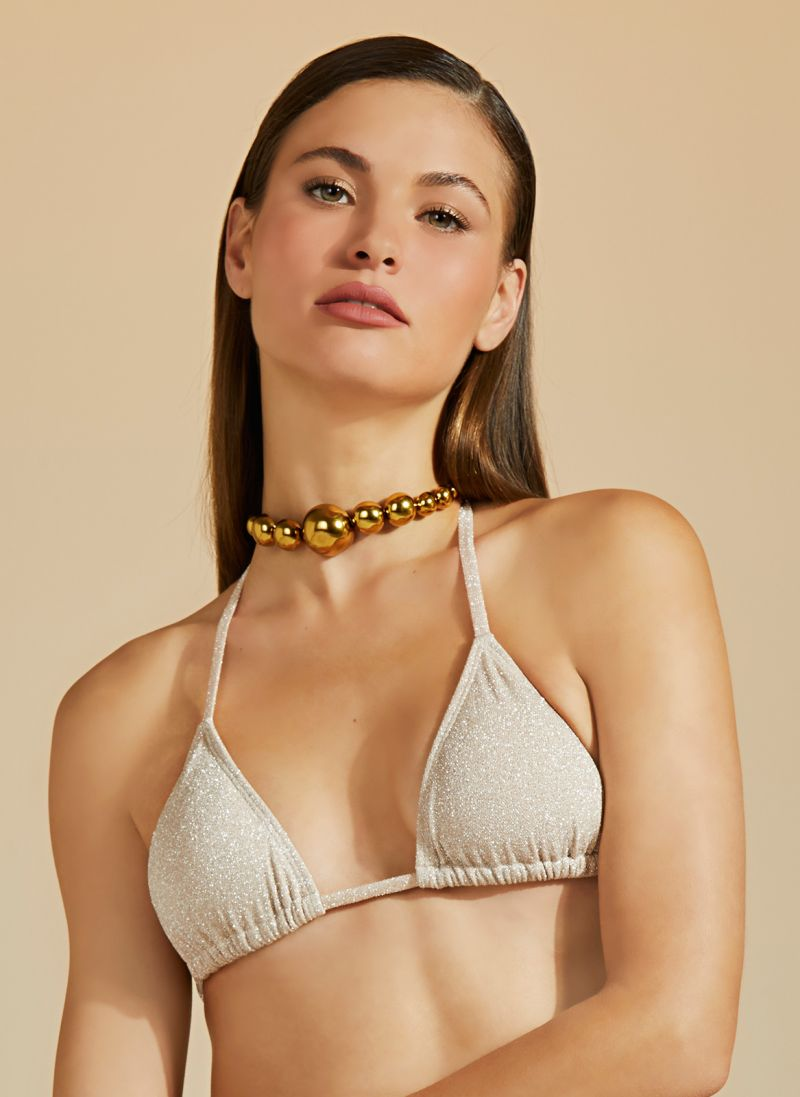 Luxurious nude bikini top with silver lurex - TOP BOJO DUPLA FACE