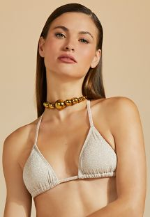 Triangel-Top in Nude mit silbernem Lurex - TOP BOJO DUPLA FACE