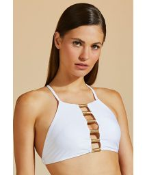 Accessorized white crop top - TOP BOJO TUBO DE LINHA