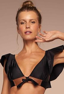 Luxurious black bra bikini top with ruffles and crocodile skin effect - TOP CHIQUE PRETO TEMPEROS