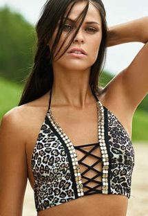 Animal print swimsuit crop top with gold-coloured detailing - SOUTIEN AMOR SALVAGE