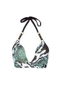 Derı detaylı, yılan desenli sabit üçgen lüks bikini üstü - SOUTIEN PITON AMAZONICO