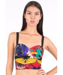 Bustier bikini top, lace-up back - SOUTIEN PLUMA HIPSTER
