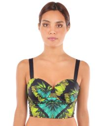 Tropical hard padded crop top, laced back - TOP SELVA PRETO