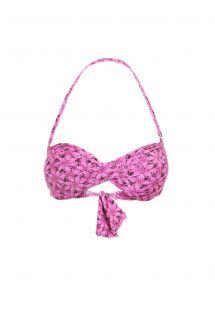 Kierretty, pinkin värinen kukkakuvioitu bandeau bikini - SOUTIEN BILRO ROSA