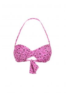 Bikini bandeau cruzado rosa con flores - SOUTIEN BILRO ROSA