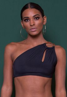 Luxurious black original one shoulder crop top - SOUTIEN BOGOTA CROPPED