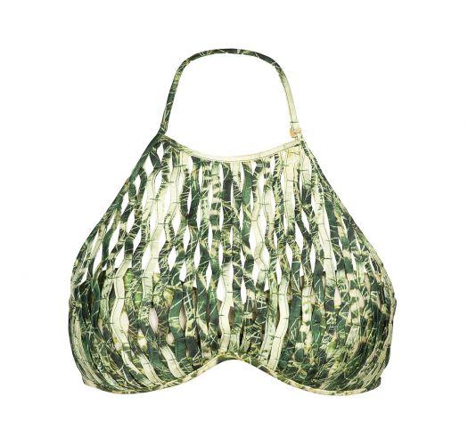 Green bandeau bikini top accessorised with straps - SOUTIEN CACTO BOLA