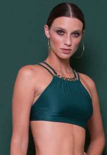 Luxurious green bikini crop top with decorative back rings - SOUTIEN JACARE CROPPED