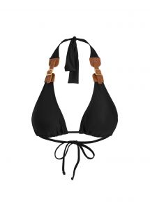 Black scarf triangle bikini top with leather and buckle accessories - SOUTIEN MORRO