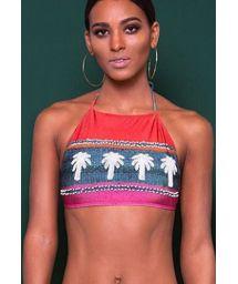 Luxurious bikini crop top with decorative pompoms - SOUTIEN PINK PERUANA