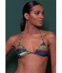 Printed sliding triangle bikini top with tassels - SOUTIEN VITORIA REGIA LACINHO