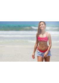 Red bandeau top with inscription - TOP BRONZING