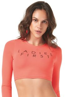 Haut crop top corail manches longues sport - TOP CROPPED LADIES FIRST