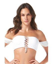 White textured off-shoulder bikini top - TOP SABLE BLANC