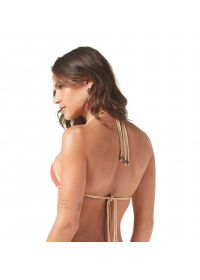 Coral bikini top with braided edges - TOP TRANCINHAS