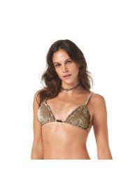 Dark beige / gold velvet bikini top - TOP VELUDO