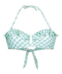 Vichy green printed bandeau top with frills - SOUTIEN BB SWIM GREEN