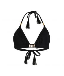 Black fringed triangle top with shell decoration - SOUTIEN CORYSWIM BLACK