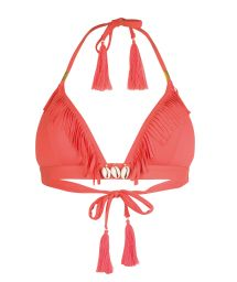 Fluorescent red fringed triangle top with shell decoration - SOUTIEN CORYSWIM NEON RED