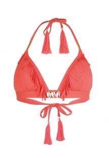 Лиф с треугольными чашечками флуоресцентного красного цвета, украшенный бахромой и декоративными ракушками - SOUTIEN CORYSWIM NEON RED