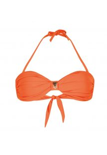 Orange twisted bandeau top with bead detailing - SOUTIEN UNISWIM ORANGE