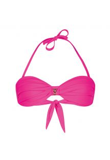 Pink twisted bandeau top with bead detailing - SOUTIEN UNISWIM PINK
