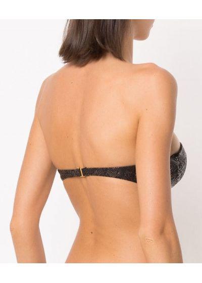Luxurious black bandeau top - snake skin - TOP TEXTURED SNAKE BLACK