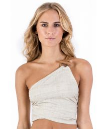 Beige linen asymmetric crop top - TOP PAREO LINEN LEATHER