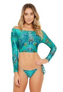 Longsleeve crop top - blue peacock - PASSARELA FANTASTIC