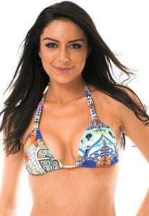 Färggrann trekants- bikini med band och tryck - SOUTIEN BARES AREIA