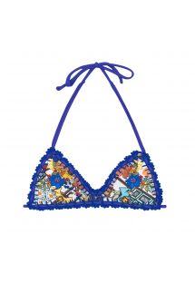 Top desportivo c/ padrão e contornos em crochet azul - SOUTIEN BARES ESTRELA