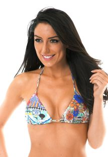 Sliding triangle top with colourful print - SOUTIEN BARES TAHITY