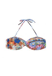 Brightly-coloured print twisted bandeau top - SOUTIEN BARES UP