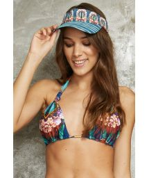 Tropical print sliding halterneck triangle top - SOUTIEN CARIBE POTI