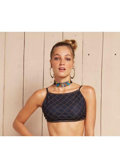 Denim bikini crop-top with quilted stiching - SOUTIEN DAKINI