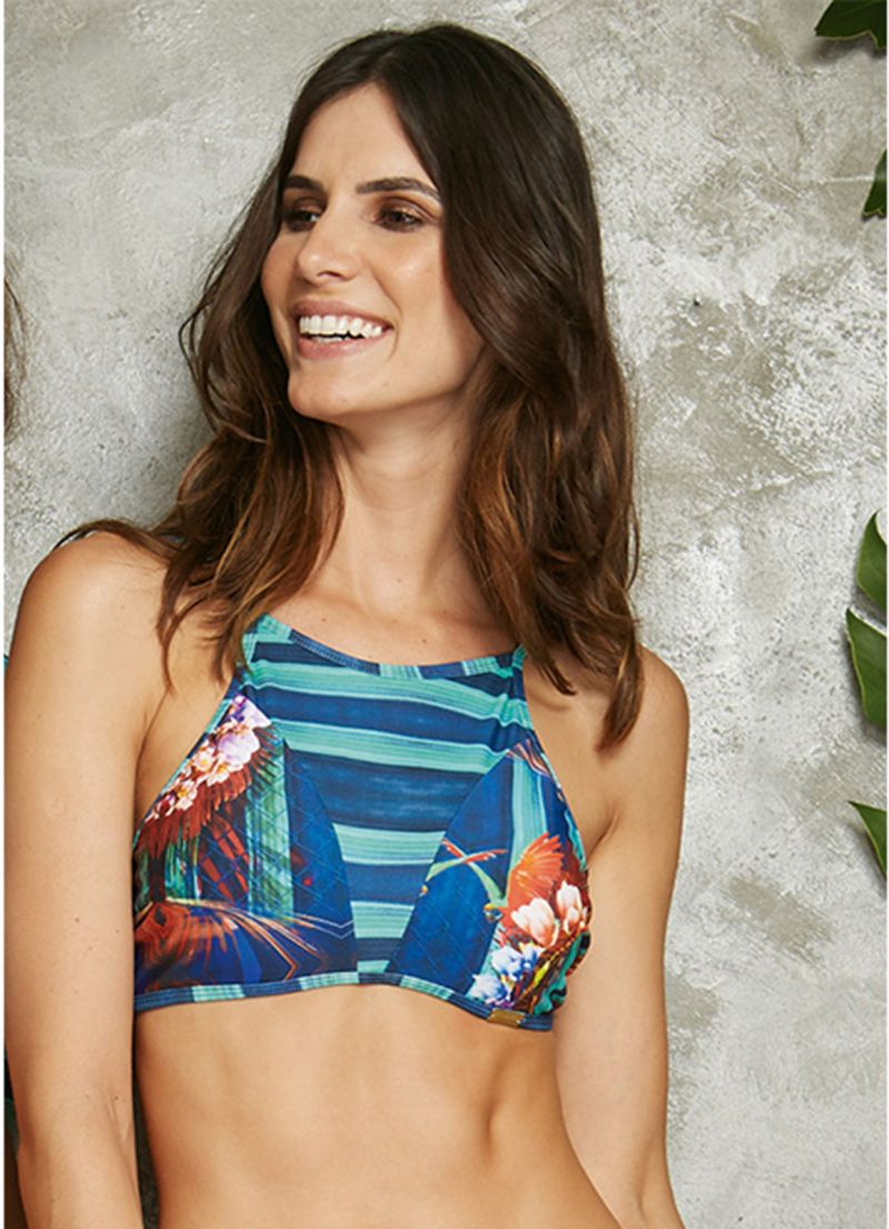 Bathing crop top with blue tropical striped print - SOUTIEN ENERGIA POTI