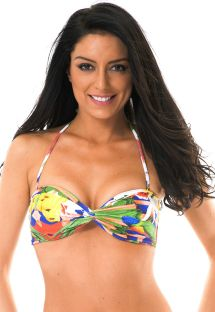 Printed bandeau top with multi-strap back - SOUTIEN EXUBERANTE BOSSA