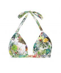 Fixed triangle scarf bikini top with plant theme print - SOUTIEN GARDEN VELEIRO
