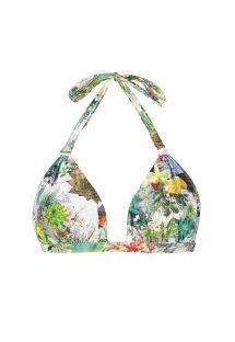 Biustonosz do bikini z wyjmowaną wkładką, wiązany na szyi, nadruk w kwiaty - SOUTIEN GARDEN VELEIRO
