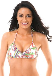 Triangle top, which can be crossed over, with colourful print - SOUTIEN GUARANA ORLA