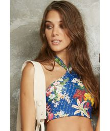 Blue floral swimming crop top with eyelet detail - SOUTIEN ILHOS PACIFICO