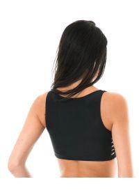 Black crop bikini top with macramé side detail - SOUTIEN LEME HOTPANTS