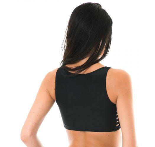 לבוש מסוג קרופ-טופ לרחצה צבע שחור צדדים באריגת מקרמה - SOUTIEN LEME HOTPANTS