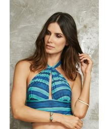 Original blue striped bathing crop top - SOUTIEN LINDO TAHITY