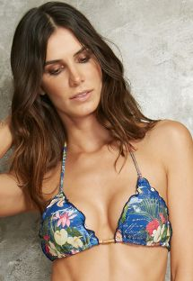 Blue floral triangle top with wavy edges - SOUTIEN MEL DESCOBRIMENTO