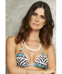 Animal and multicoloured print triangle top with wavy edges - SOUTIEN MEL ZEBRA