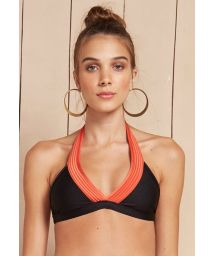 Black triangle bikini top with orange quilted trim detail - SOUTIEN METALASSE