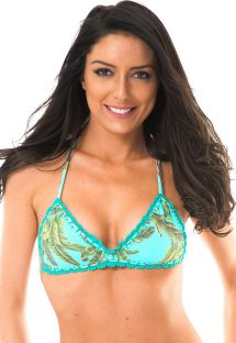 Tropical sports-bra style top with crochet edging - SOUTIEN MUSA ESTRELA