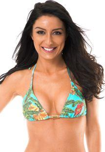 Accessorised tropical triangle bikini top - SOUTIEN MUSA PACIFICO